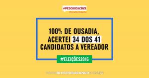 Durango Duarte - 100% de ousadia, acertei 34 dos 41 candidatos a vereador